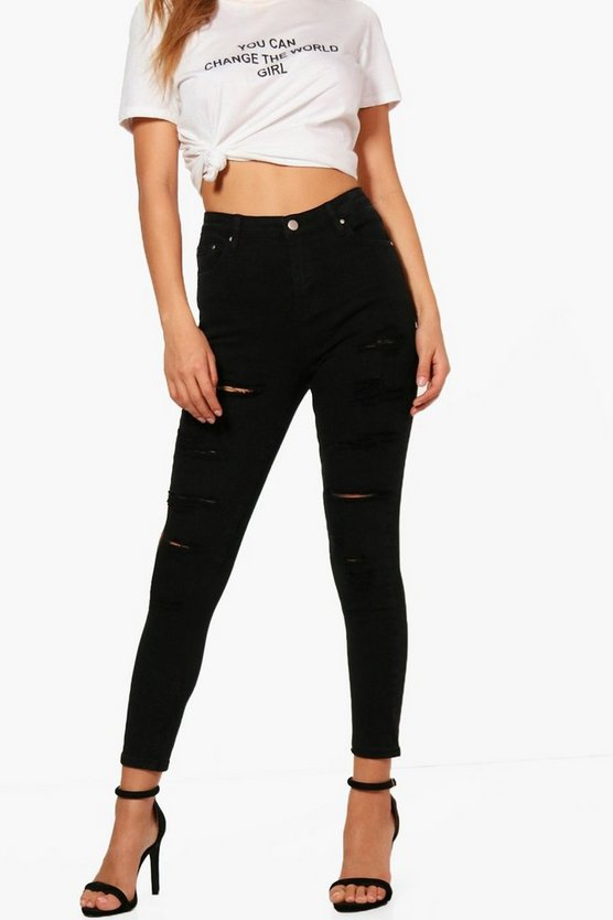 Black High Rise Heavy Ripped Skinny Jeans