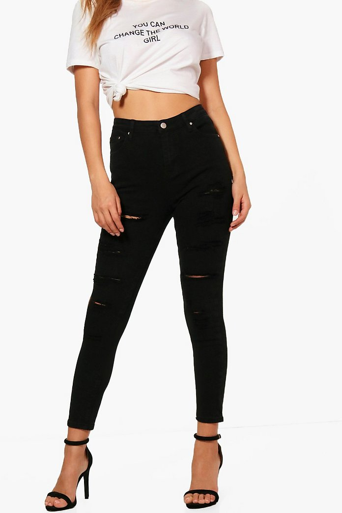 offer discounts arriving factory outlet High Rise Heavy Ripped Skinny Jeans | Boohoo