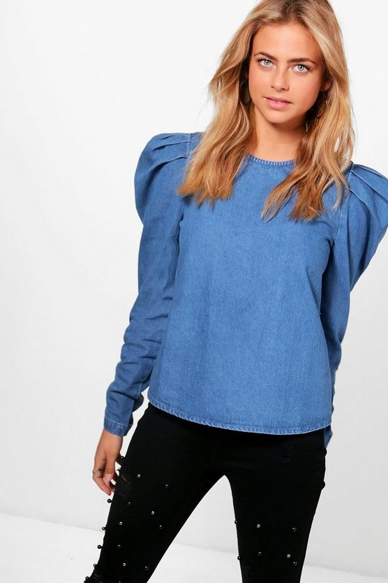 Polly Puff Sleeve Denim Top