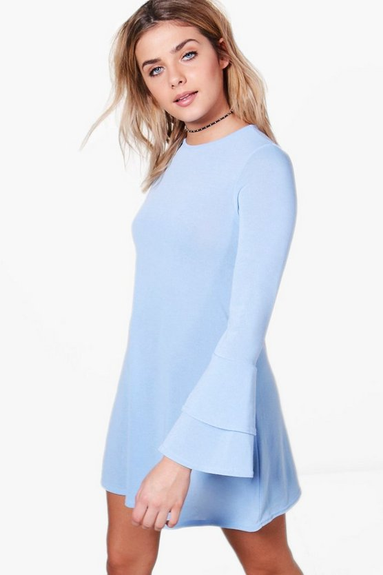 Megan Ruffle Flare Sleeve Knitted Skater Dress