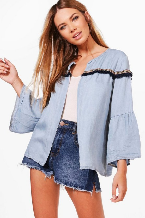 Tina Tassel Trim Denim Jacket