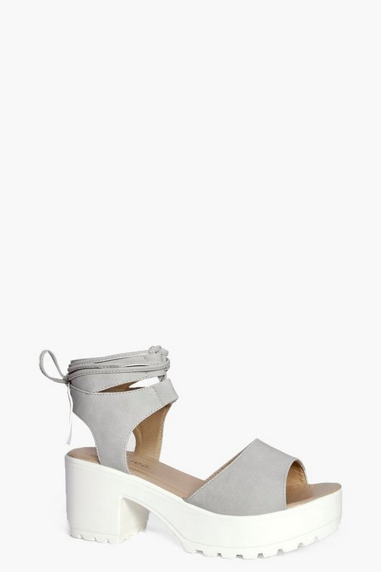 Peeptoe Wrap Over Cleated Sandals