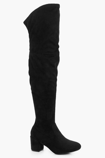 Womens Black Extra Wide Fit Block Heel Over The Knee Boots