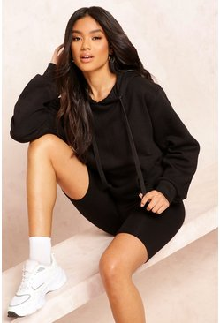 Womens Black Basic Solid Oversized Hoody