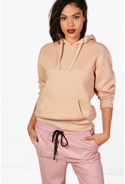 Womens Camel Basic Solid Oversized Hoody