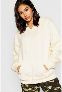 Womens Ecru Basic Solid Oversized Hoody