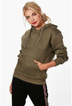Womens Khaki Basic Solid Oversized Hoody
