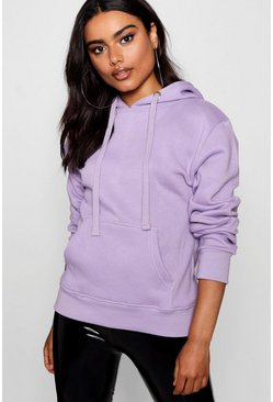 Womens Lilac Basic Solid Oversized Hoody