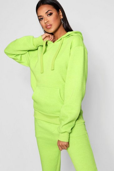 Womens Lime Basic Solid Oversized Hoody