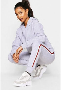Womens Silver Basic Solid Oversized Hoody