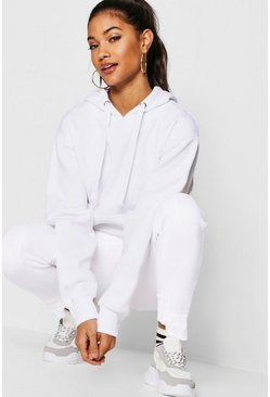 Womens White Basic Solid Oversized Hoody