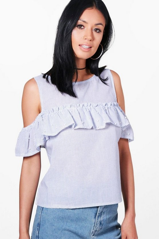 Bella Stripe Pearl Trim Ruffle Top