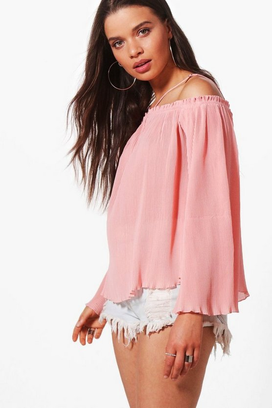 Jessica Pleated Woven Cold Shoulder Top