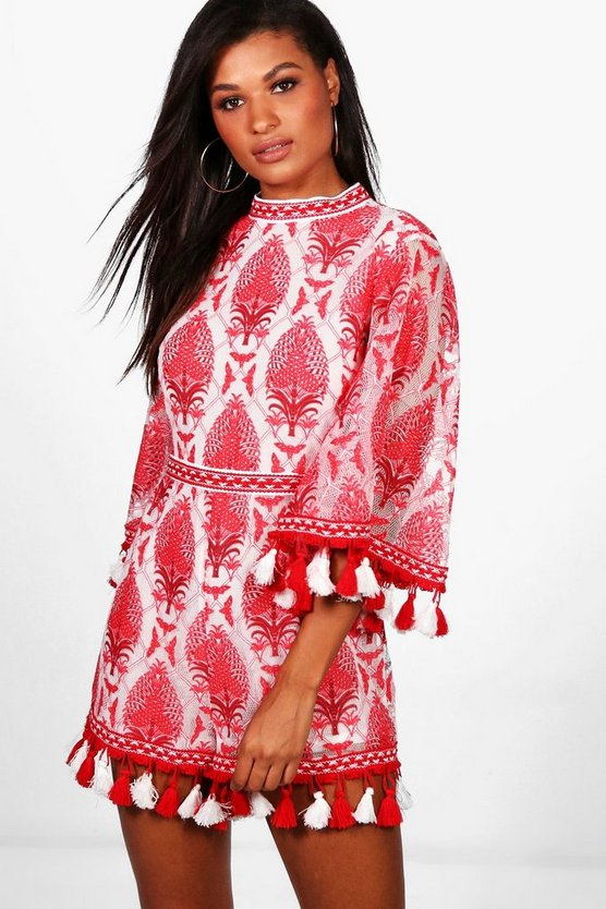 Womens Red Boutique Tassel Trim Playsuit