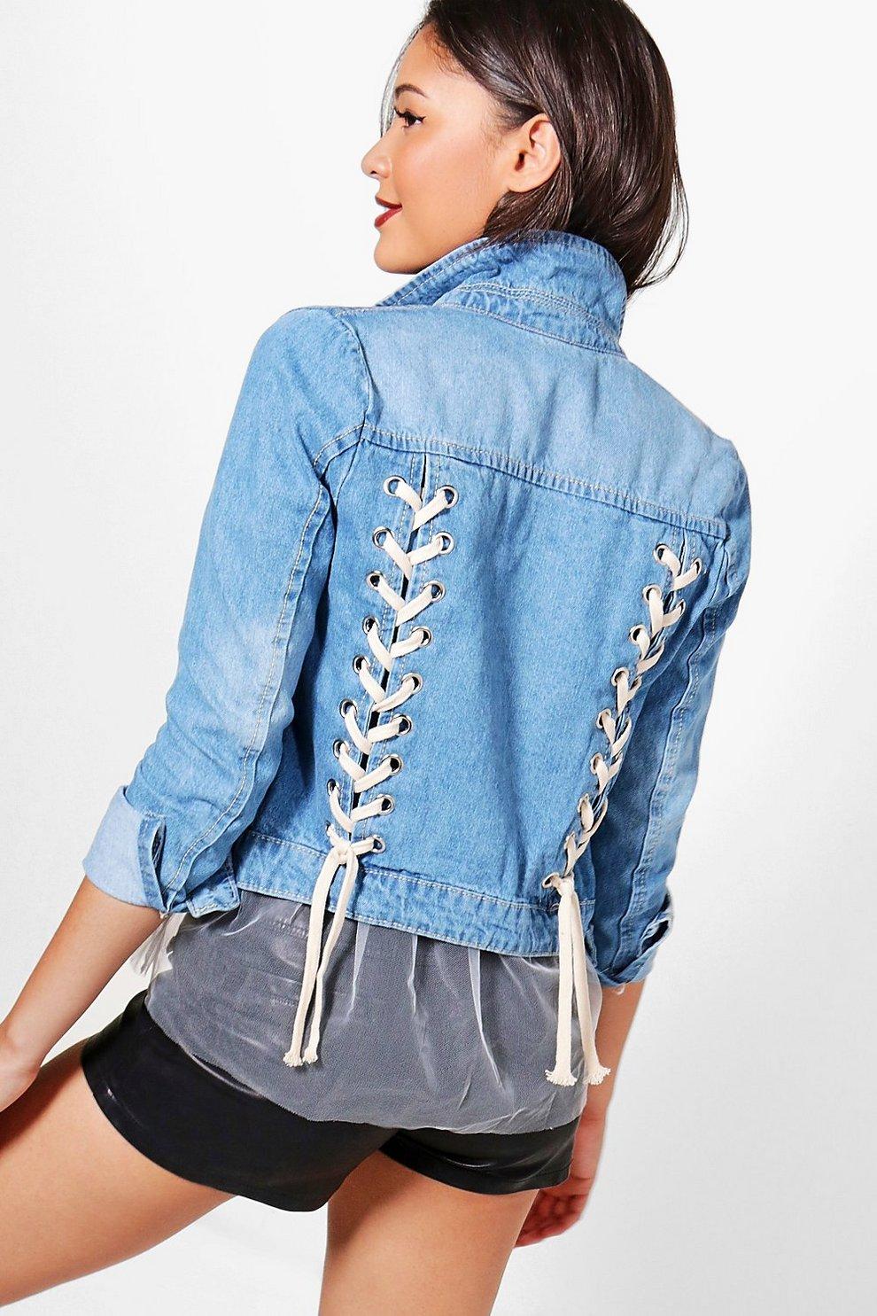 4f625804d19 Womens Mid blue Delaney Lace Up Back Denim Jacket