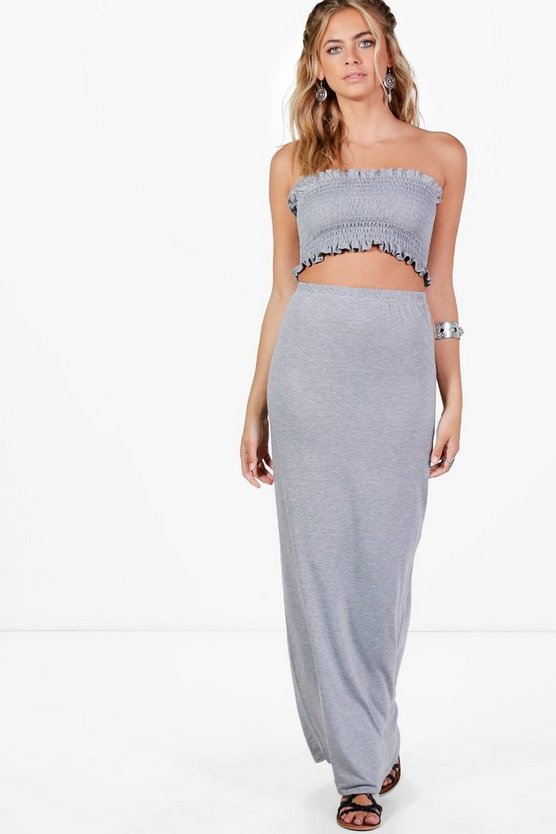 Shirred Bandeau & Maxi Skirt Co-ord
