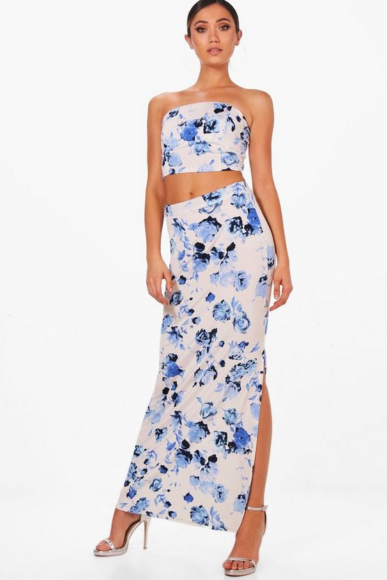 Floral Crop & Maxi Skirt Co-ord