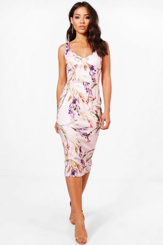 Structured Bust Strappy Floral Midi Dress
