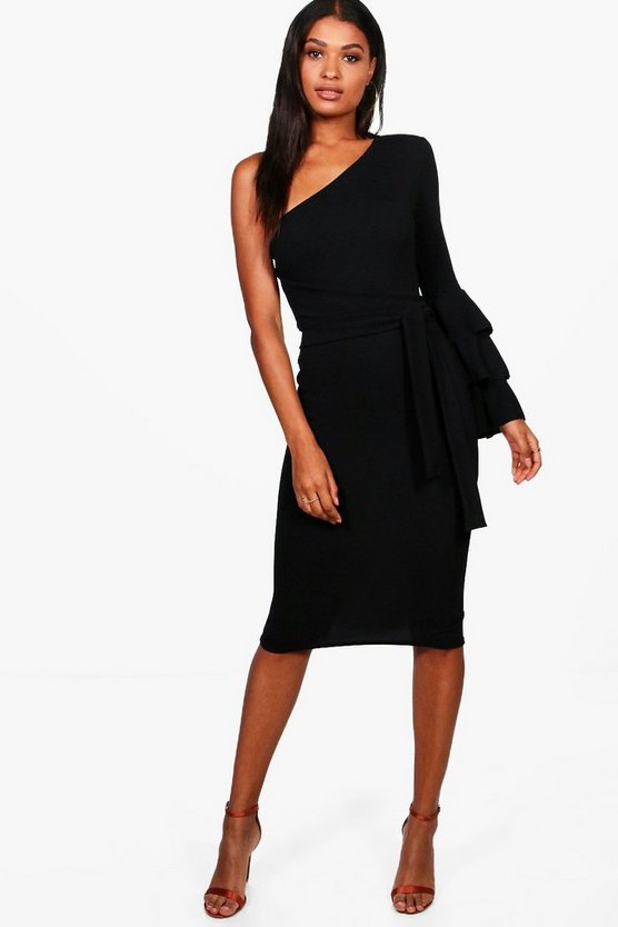 One Shoulder Frill Tiered Midi Bodycon Dress