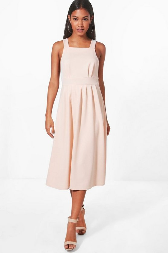 Womens Blush Alli Strappy Frill Midi Skater Dress