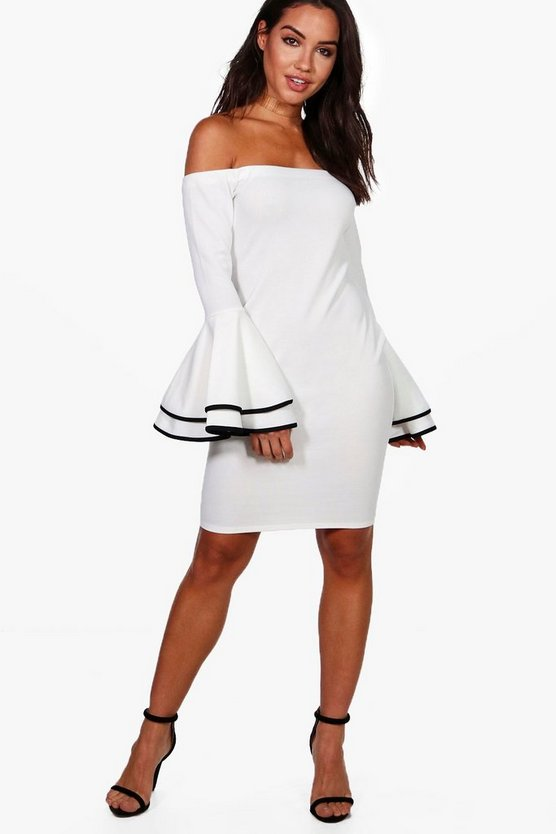 Fleur Off The Shoulder Flared Sleeve Bodycon Dress