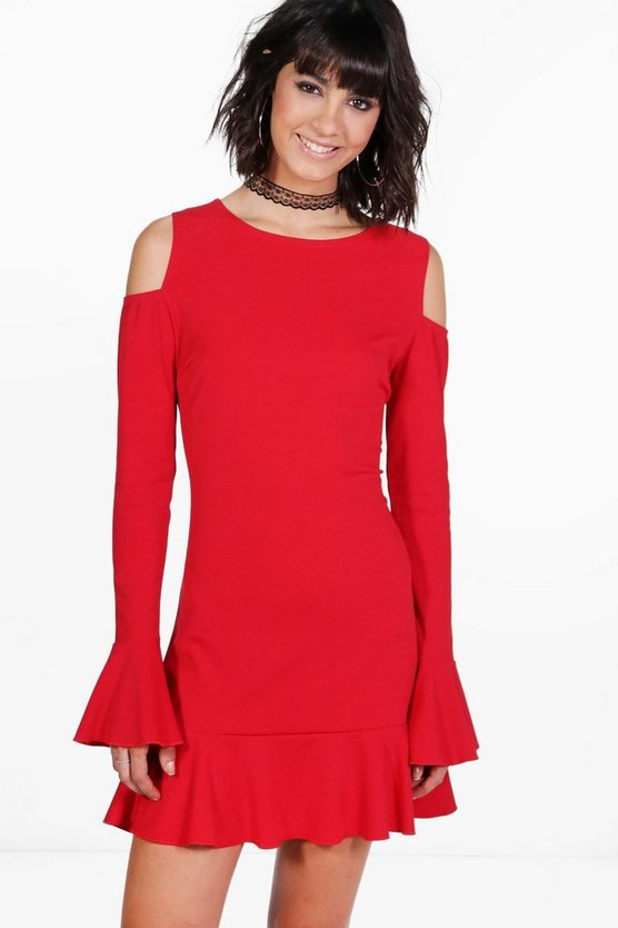Frill Detail Cold Shoulder Bodycon Dress