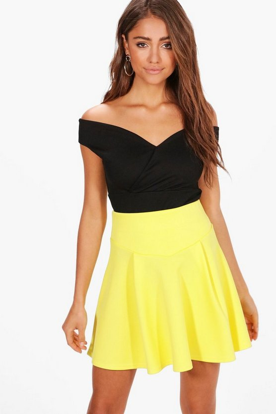 Womens Lemon Maisy High Waist Fit & Flare Mini Skirt