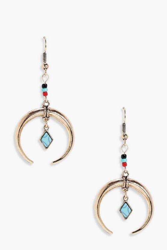 Eliza Statement Horn And Stone Earrings