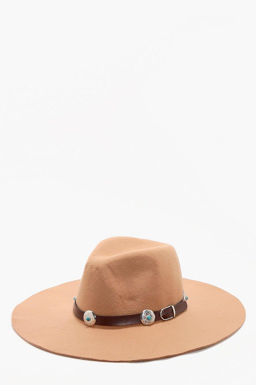 833fbdb1543774 Womens Tan Cerys Western Belt Detail Fedora Hat