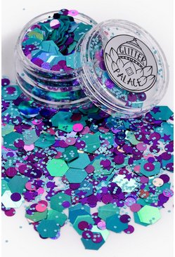 Womens Blue Glitter Palace Glitter Pot