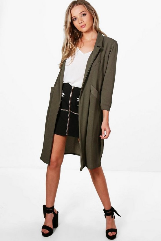 Woven Belted Pocket Duster