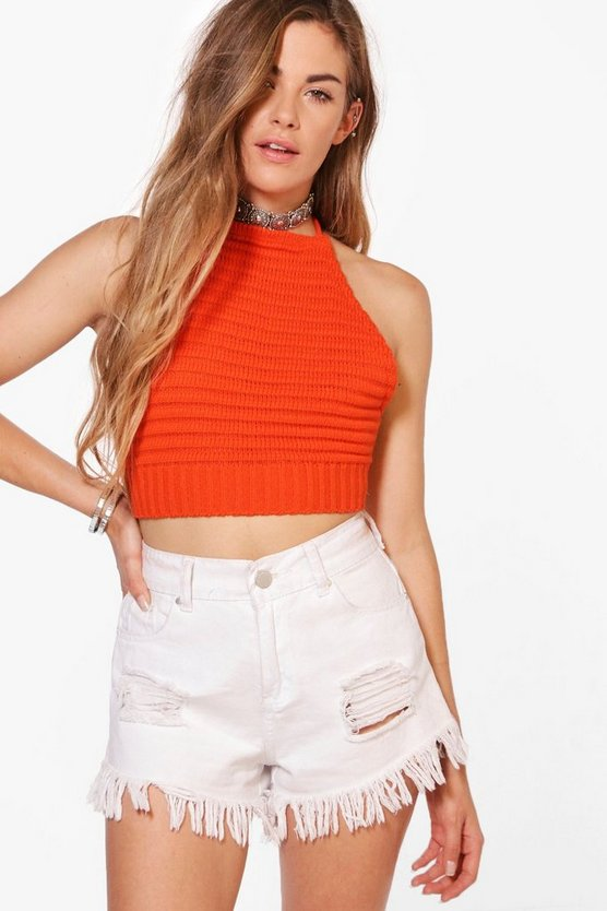 Millie Ribbed Crochet Knitted Halter Neck Top