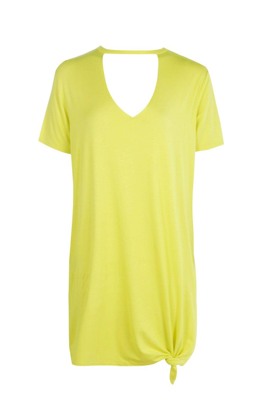 Boohoo-katie-abito-a-T-shirt-oversize-con-nodo-frontale-e-choker-per