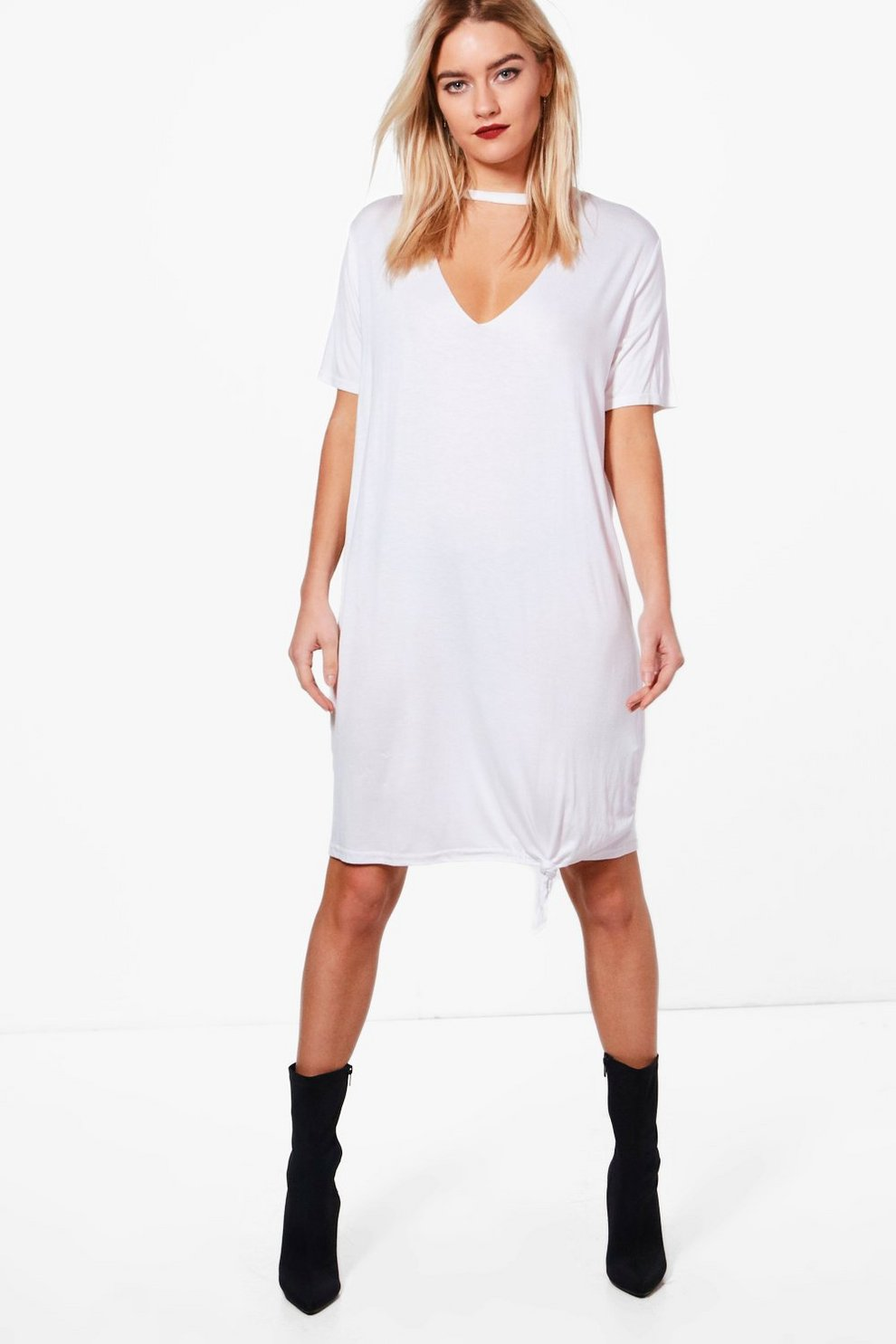 5ce8fedc8717c Womens White Katie Choker Oversized Knot Front T-Shirt Dress. Hover to zoom
