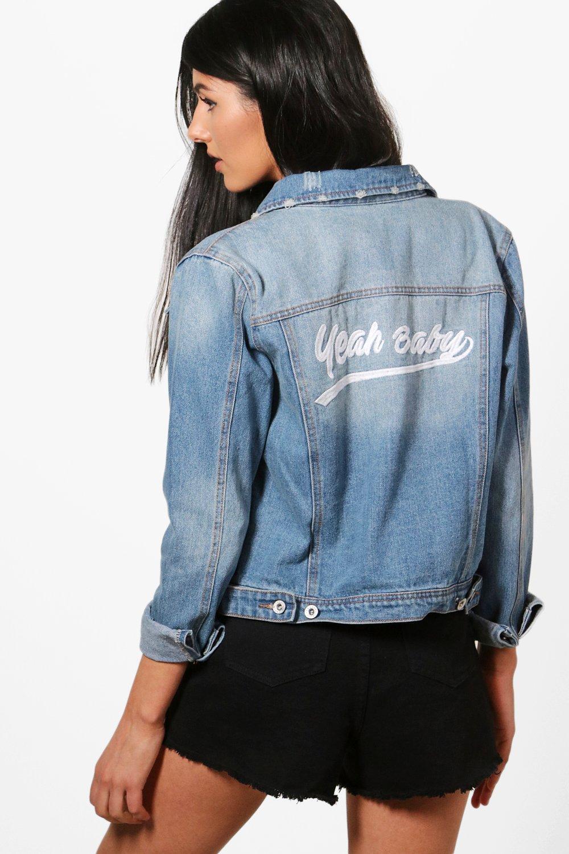guetter prix styles frais reese veste en jean western à slogan brodé dans le dos | Boohoo