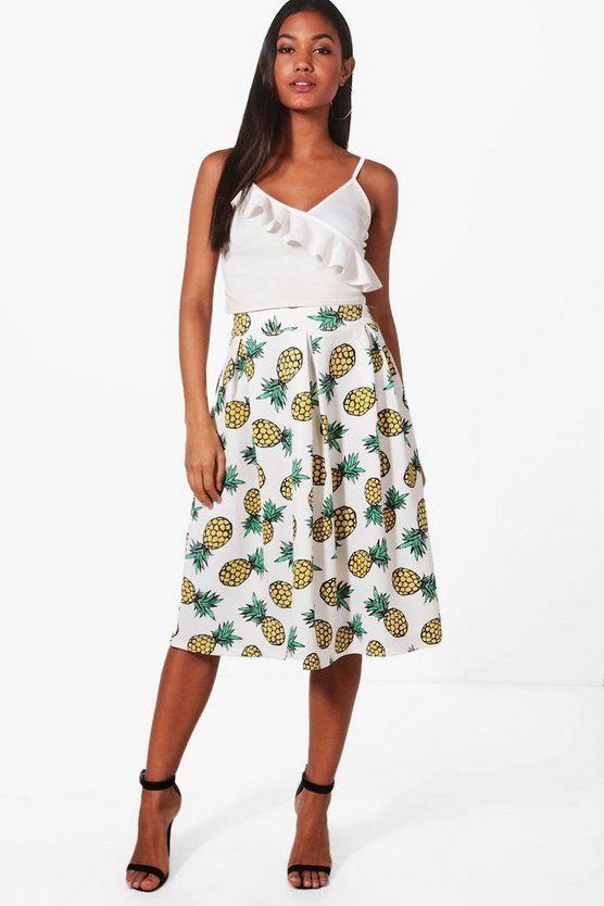 Cora Pineapple Print Box Pleat Midi Skirt