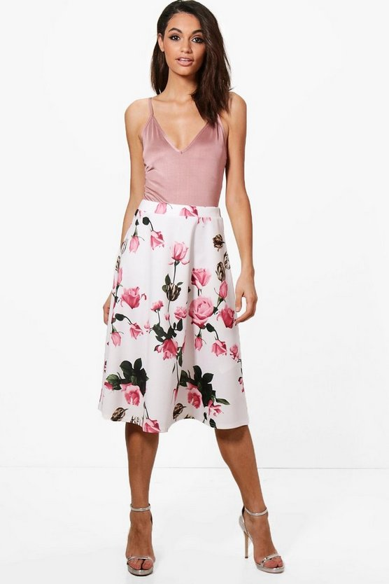 Kate Summer Floral Full Midi Skirt