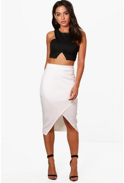 Womens Ivory Asymetric Split Front Midi Skirt