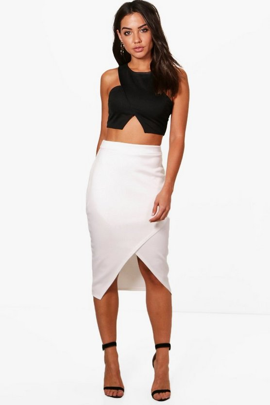 Asymetric Split Front Midi Skirt