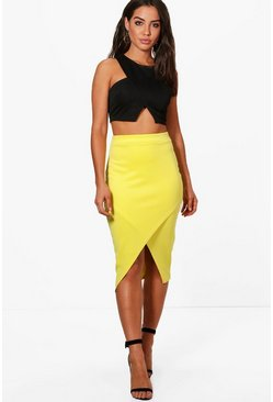Womens Lemon Asymetric Split Front Midi Skirt