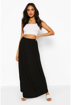 Womens Black Basic Gathered Waist Floor Sweeping Maxi Skirt