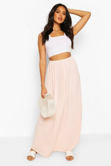 Womens Blush Basic Gathered Waist Floor Sweeping Maxi Skirt