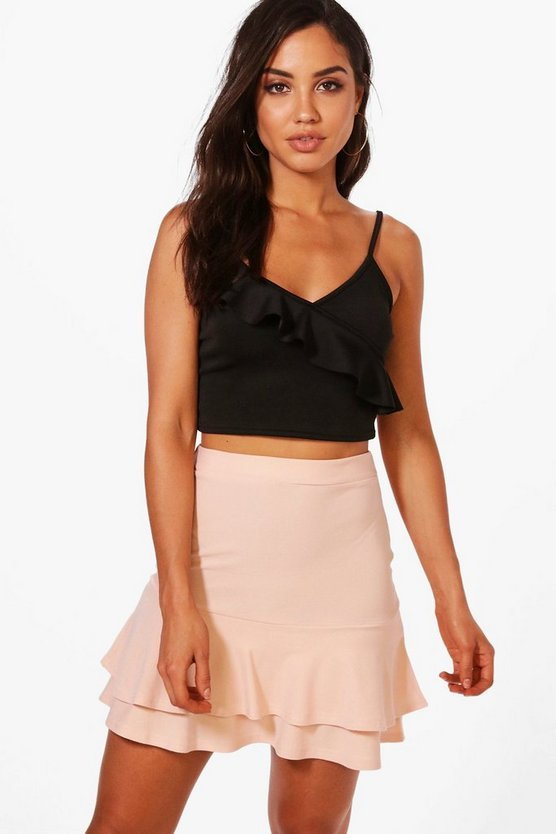 Double Ruffle Hem Mini Skirt