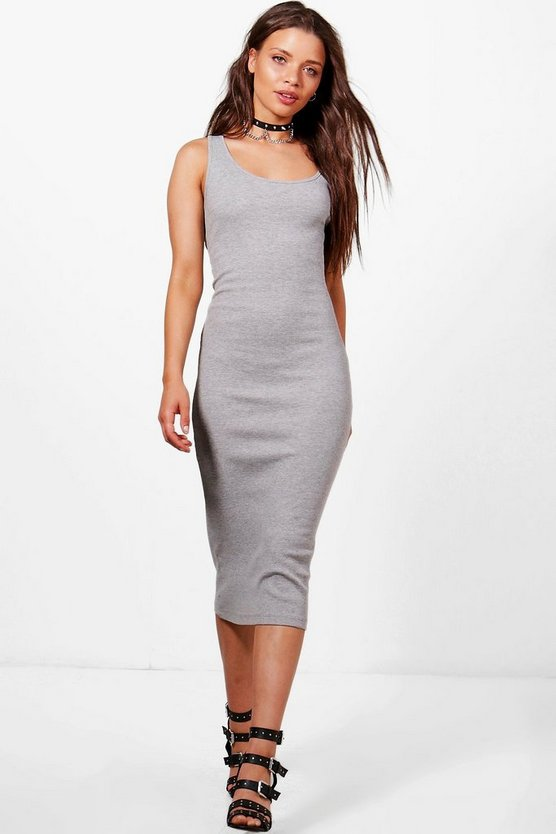 Womens Grey Sophie Ribbed Jersey Midi Dress