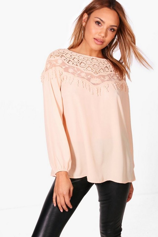 Womens Peach Charlie Lace Trim Blouse