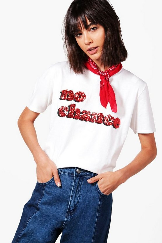 "Stella T-Shirt mit ""No Chance""-Slogan aus Pailletten"