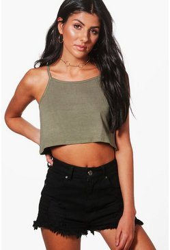 Womens Khaki Basic Swing Crop Cami