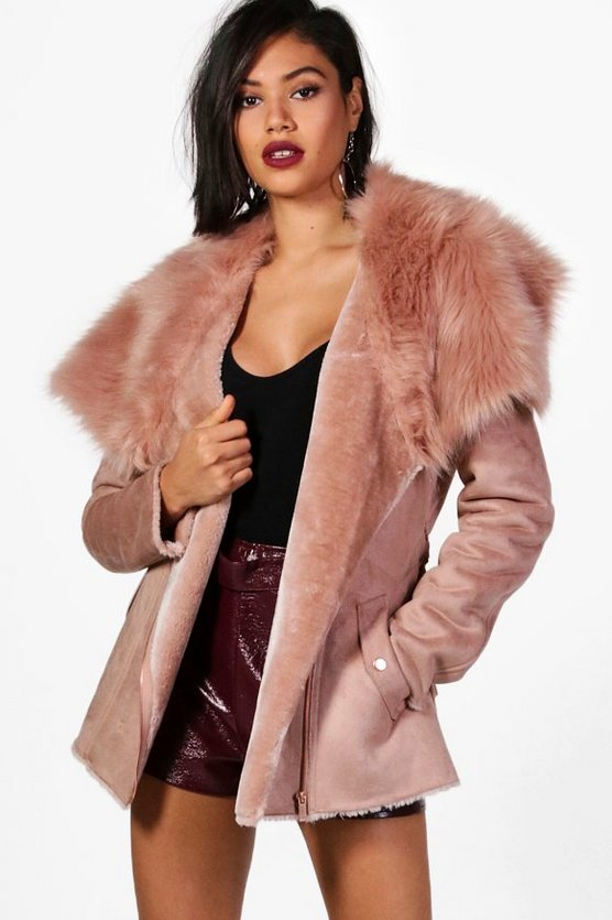 Womens Rose Faye Boutique Faux Fur Collar Belted Jacket