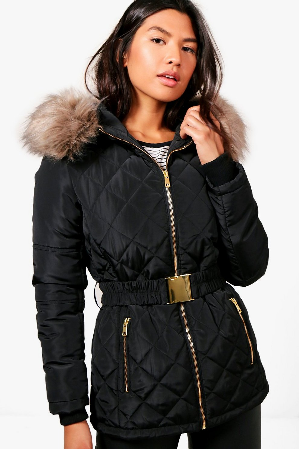 Danielle Diamond Quilted Jacket With Faux Fur Trim Boohoo