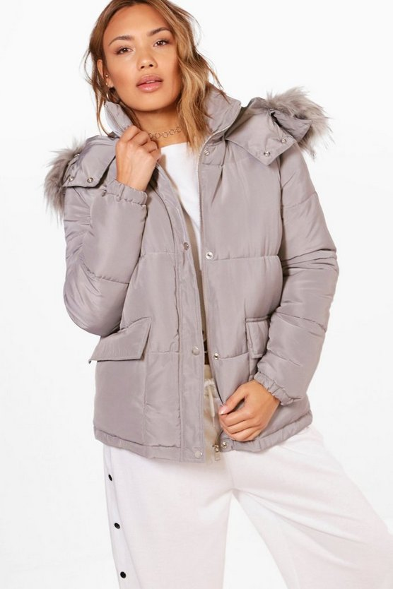 Hooded Padded Coat With Faux Fur Trim